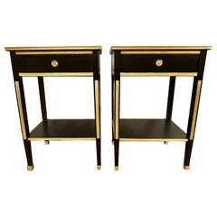 Pair of Russian Neoclassical Style Ebony Finish One Drawer Stands or End Tables