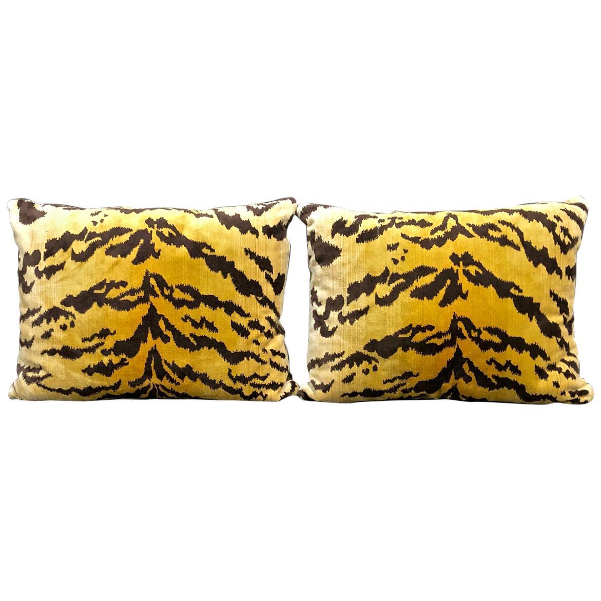 "Pair Scalamandre ""Le Tigre"" Pillows"