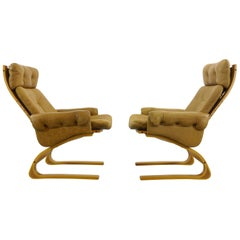 Pair Scandinavian Kengu Easy Chairs in Brown Leather by Solheim for Rykken