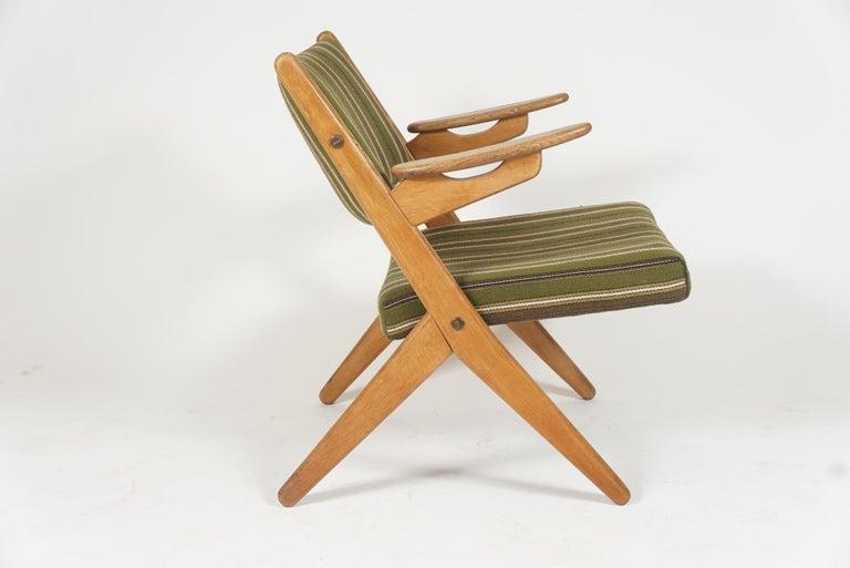 Upholstery Scandinavian Modern Scissor or Sawbuck Armchairs in Manner of Hans Wegner, Pair For Sale