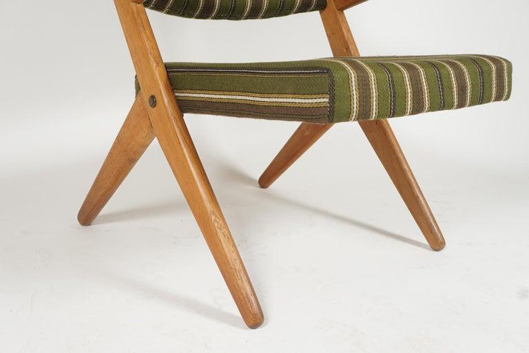 Scandinavian Modern Scissor or Sawbuck Armchairs in Manner of Hans Wegner, Pair For Sale 3