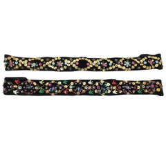 Pair Sequin Embellished 1930's Velvet Ribbon Headbands