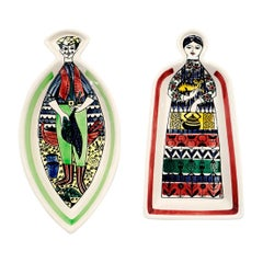 Pair of Serving Platters by Anita Nylund Sweden Colorful Ceramic Male and Female