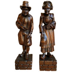 PAIR Set Antique Carved Wood French Breton Brittany Statue Figurine Celtic Farm