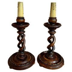 Pair of Set of 2 Antique English Desk Buffet Table Lamp Light Open Barley Twist