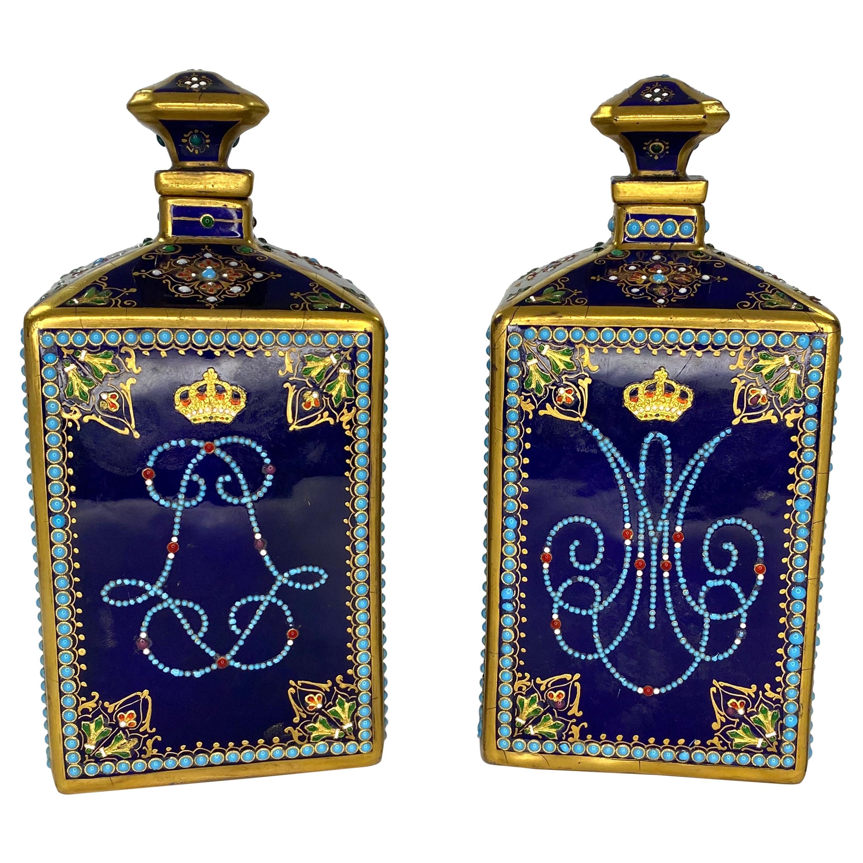 Pair of 'Sevres' Porcelain 'Jewelled' Perfume Bottles, circa 1880