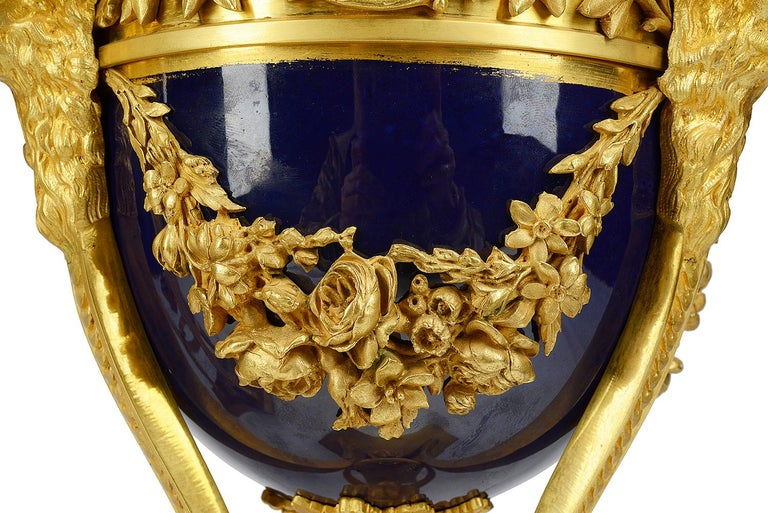 Gilt Pair Sevres Style Porcelain and Ormolu Urns For Sale