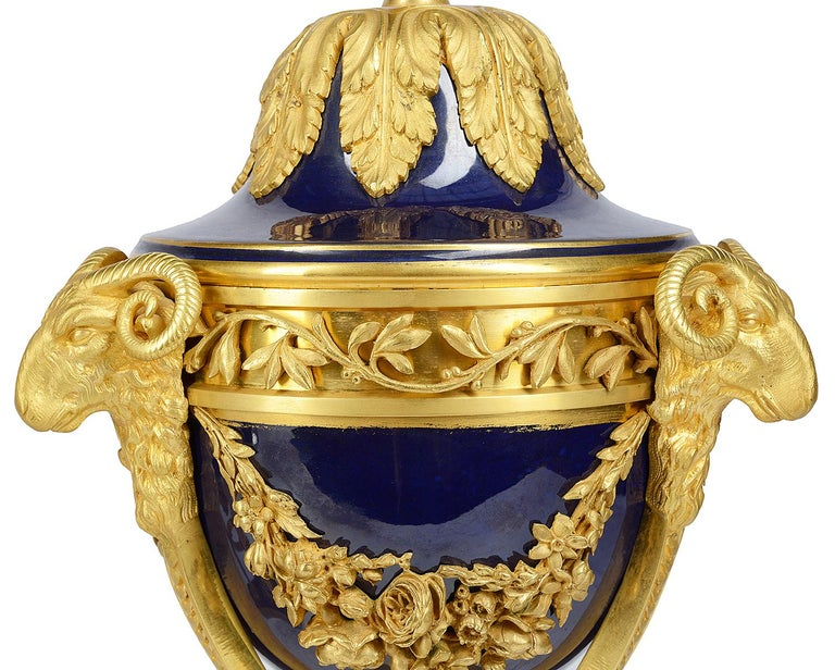 Pair Sevres Style Porcelain and Ormolu Urns In Good Condition For Sale In Brighton, Sussex