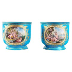 Pair of Sevres Style Porcelain Jardinieres, 19th Century