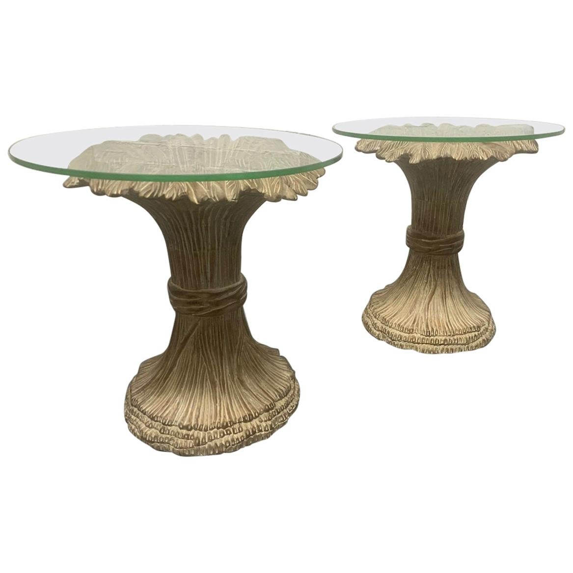 Pair of Sheaf of Wheat Wood and Glass Top Side Tables