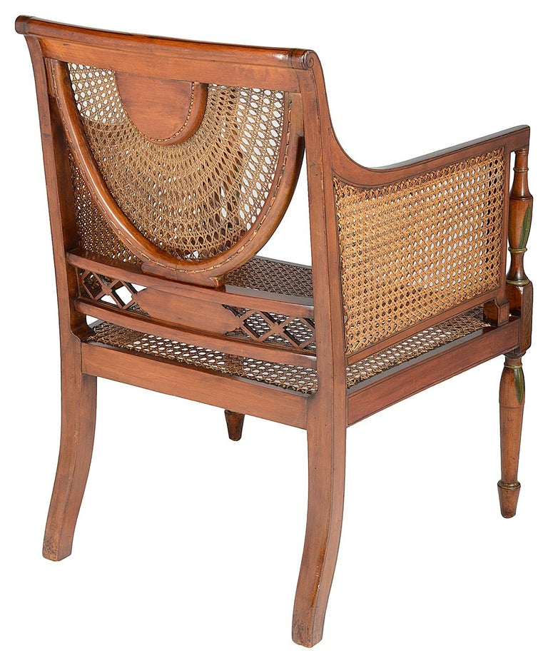 Pair of Sheraton Revival Bergere Library Chairs, Late 19th Century For Sale 2