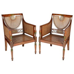 Pair of Sheraton Revival Bergere Library Chairs, Late 19th Century