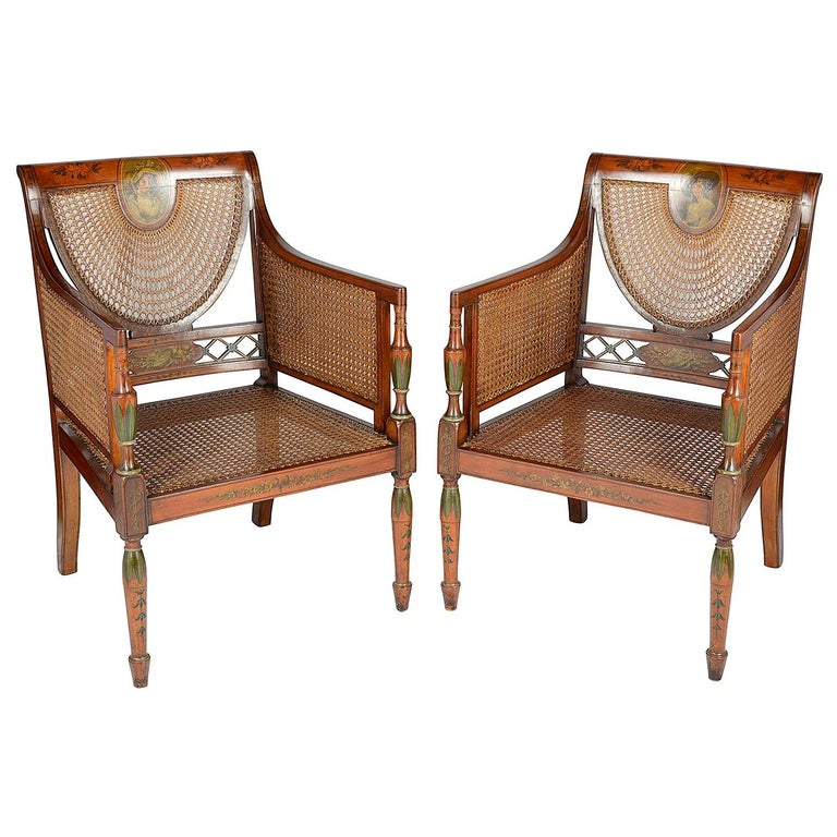 Pair of Sheraton Revival Bergere Library Chairs, Late 19th Century For Sale