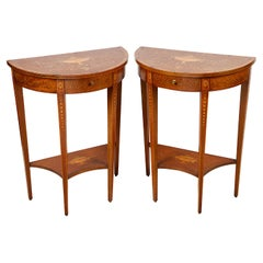 Pair of Sheriton Style Inlaid Side Console Tables, circa 1890