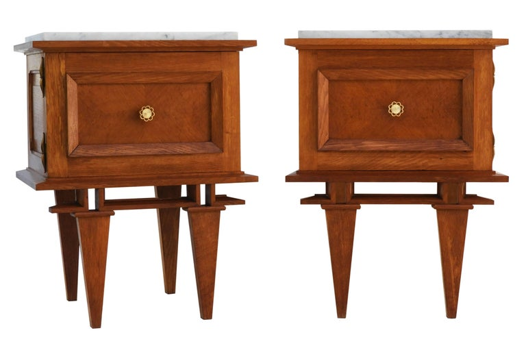 Pair of side cabinets midcentury nightstands bedside tables french pair of side cabinets midcentury nightstands bedside tables french circa 1950 solid oak cabinets with watchthetrailerfo