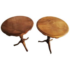Pair of Side or End Tables of Walnut, England, Early 20th Century