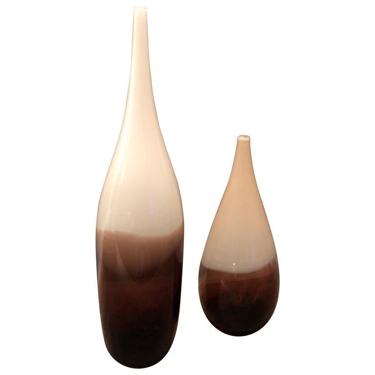 Pair of Siemon and Salazar White/Ivory/Amber Teardrop Lattimo Vases, Signed For Sale