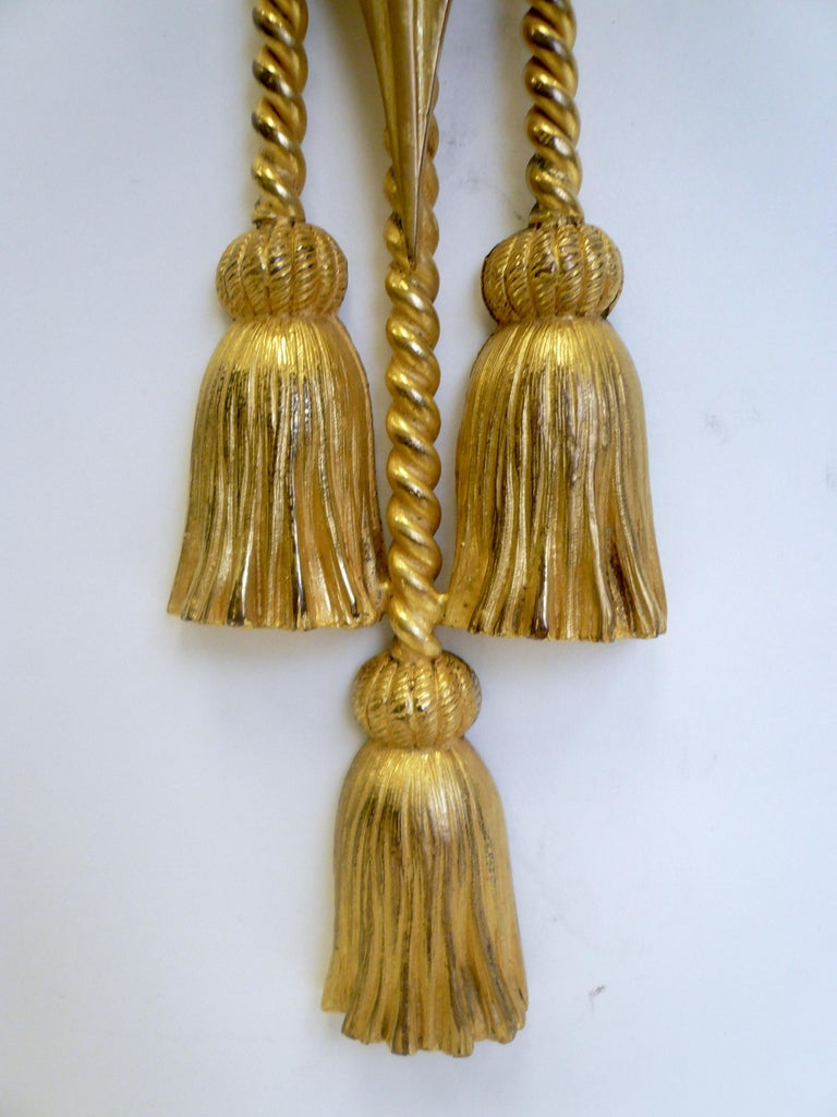 Neoclassical Signed E. F. Caldwell Gilt Bronze Classical Style Lion and Tassel Sconces, Pair For Sale