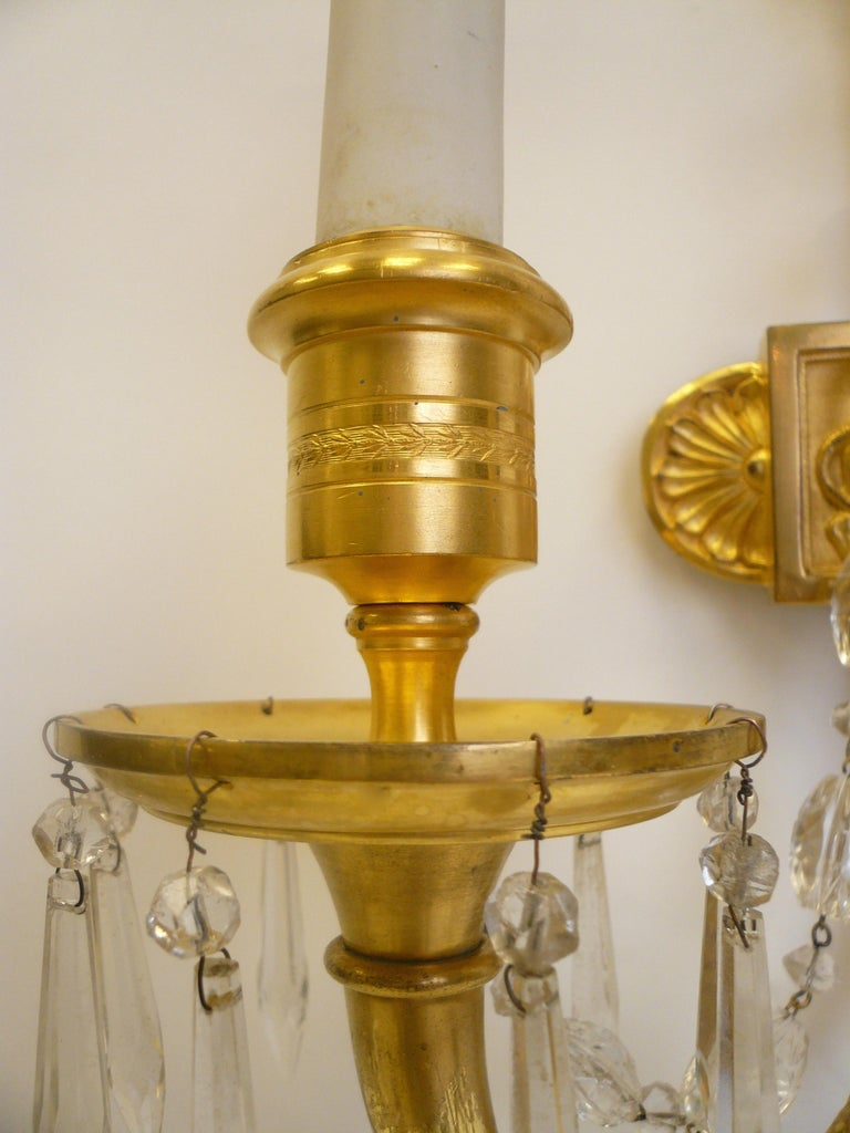 Faceted Signed E. F. Caldwell Gilt Bronze Classical Style Lion and Tassel Sconces, Pair For Sale