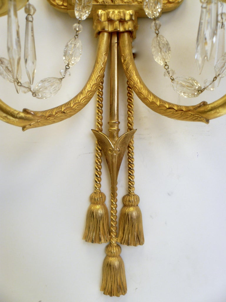 Signed E. F. Caldwell Gilt Bronze Classical Style Lion and Tassel Sconces, Pair In Good Condition For Sale In Pittsburgh, PA
