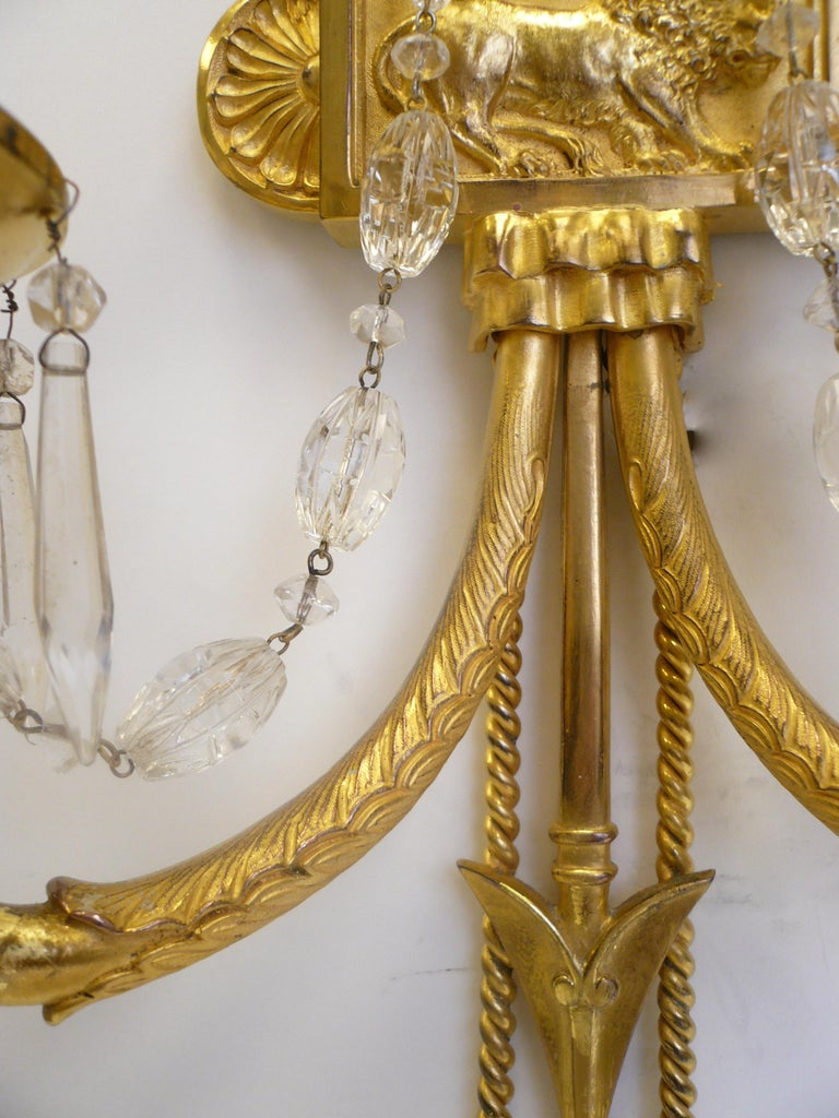 20th Century Signed E. F. Caldwell Gilt Bronze Classical Style Lion and Tassel Sconces, Pair For Sale