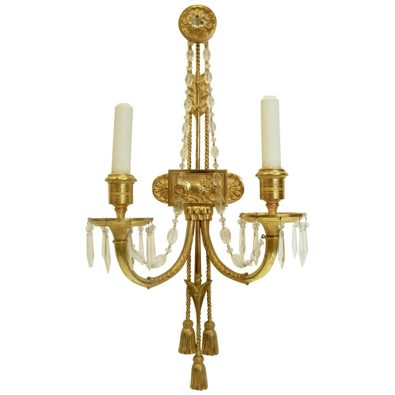 Signed E. F. Caldwell Gilt Bronze Classical Style Lion and Tassel Sconces, Pair For Sale