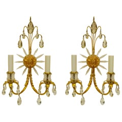 Pair of Signed E. F. Caldwell Gilt Bronze Two Light Classical Motif Sconces