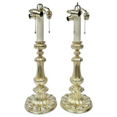 Pair Signed E. F. Caldwell Silvered Bronze Old English Style Lamps