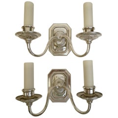 Pair of Signed E. F.Caldwell Georgian Style Two-Light Silver Sconces
