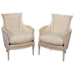 Pair Signed Maison Jansen White Painted Louis XVI Bergère Lounge Chairs C1940