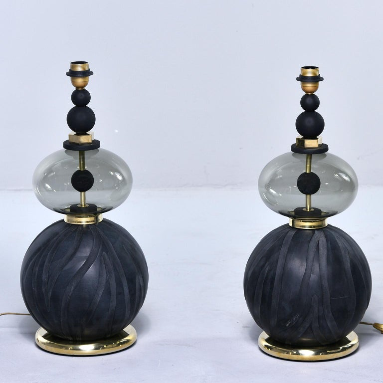 Pair of Signed Roberto Cavalli Black Double Vessel Art Glass Lamps For Sale 4