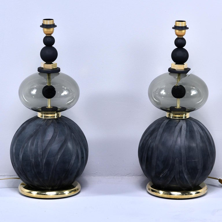 Pair of Signed Roberto Cavalli Black Double Vessel Art Glass Lamps For Sale 1