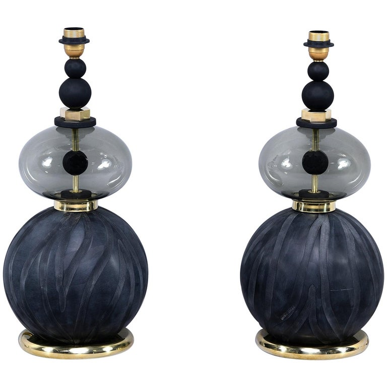 Pair of Signed Roberto Cavalli Black Double Vessel Art Glass Lamps For Sale
