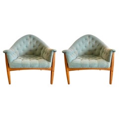 Pair Signed Thayer Coggin by Milo Baughman Rare Exposed Frame Lounge Chair 1965