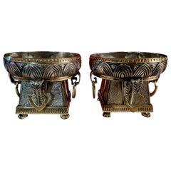 Pair Silver Art Deco Jardiniere Bronze