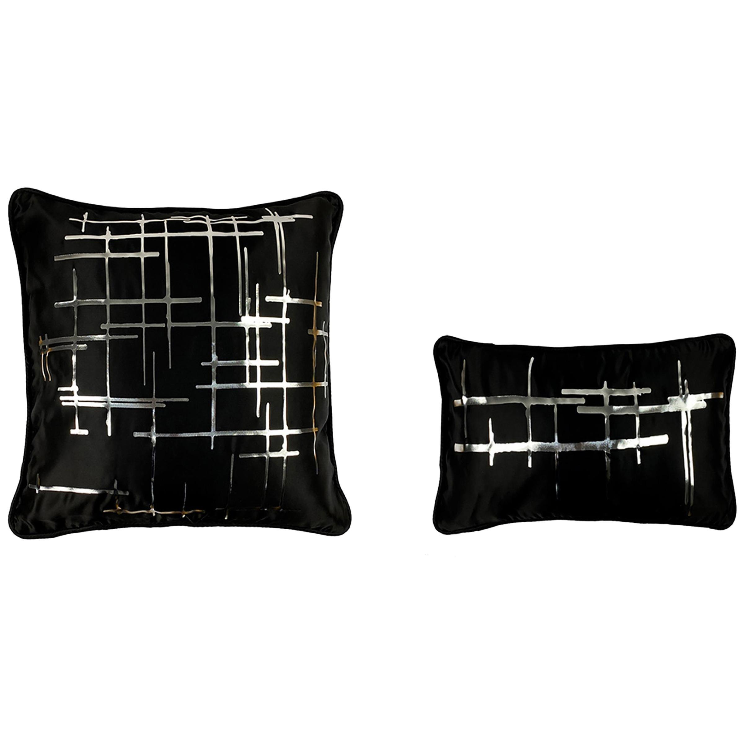 Pair Silver Criss Cross Black Silk Duchesse Satin Throw Pillows