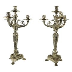 Pair of Silver Plate Beaux Art Candlestick Candelabra