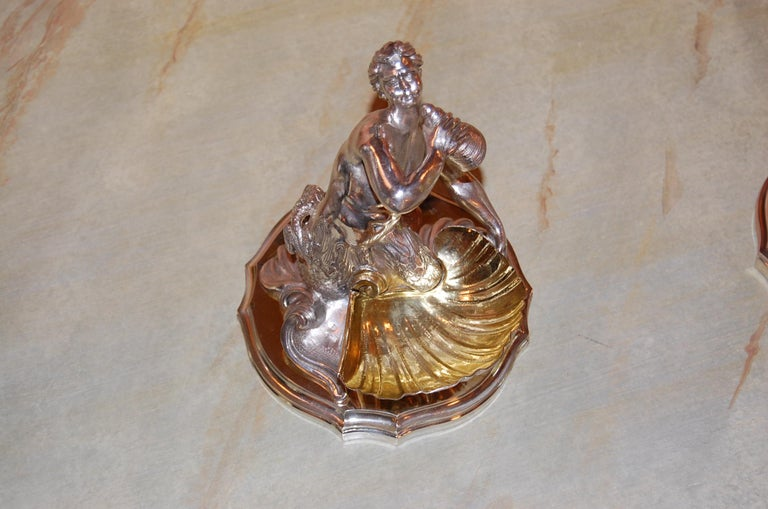 Silver Plated Candy/ Nut Bowls Depicting a Neptune God-Like Mermaid Figure, Pair For Sale 3