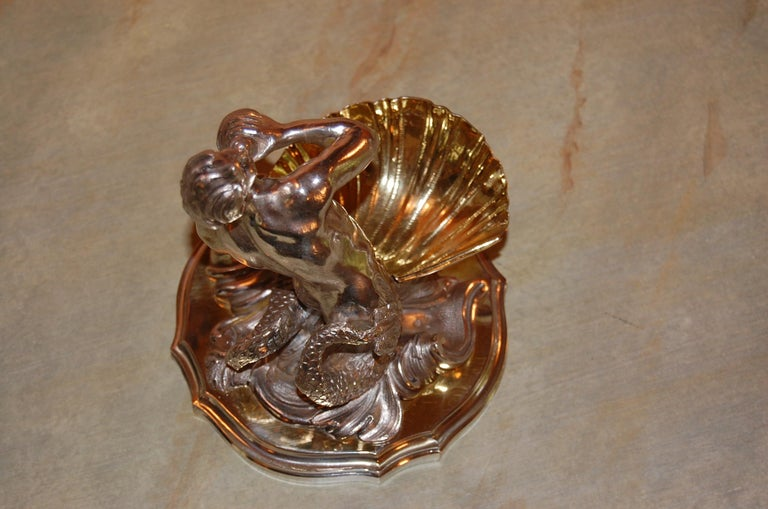 Silver Plated Candy/ Nut Bowls Depicting a Neptune God-Like Mermaid Figure, Pair For Sale 4