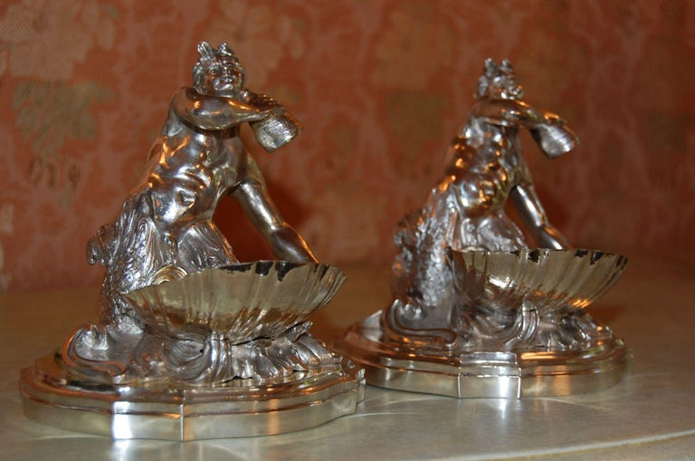 British Silver Plated Candy/ Nut Bowls Depicting a Neptune God-Like Mermaid Figure, Pair For Sale