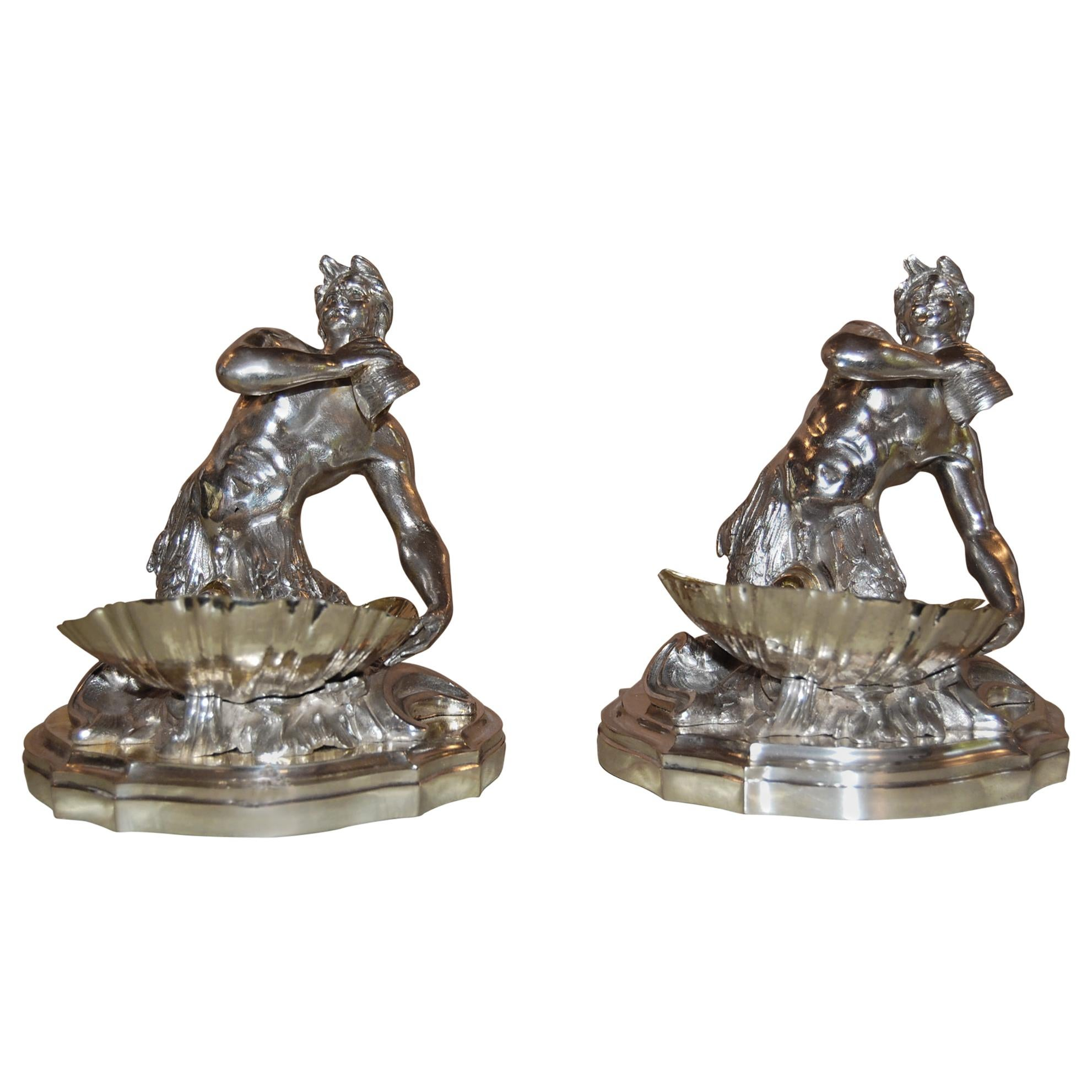 Silver Plated Candy/ Nut Bowls Depicting a Neptune God-Like Mermaid Figure, Pair