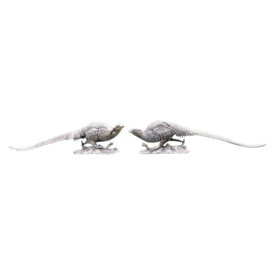 Pair of Silvered Bronze Sculptures of Pheasants
