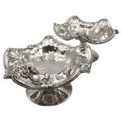 Pair Simpson Hall Miller Sterling Silver Compotes Centerpiece Bowls Art Nouveau