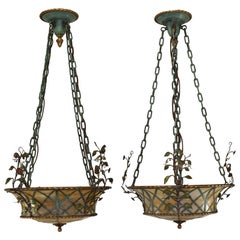 Pair of Slag Glass 1920s Basket Form Brass and Iron Chandeliers Leaves and Vines