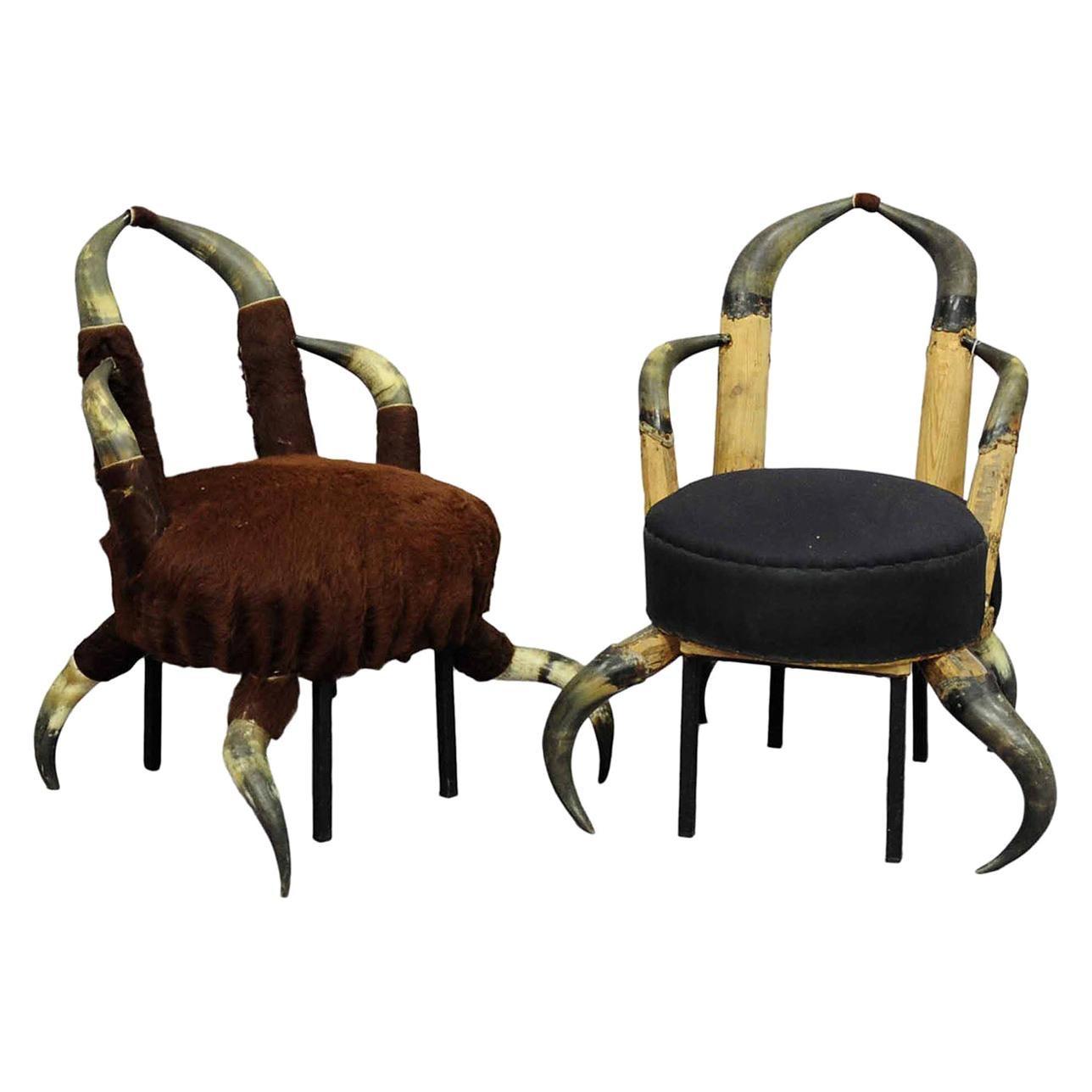 Pair Small Antique Horn Chairs, Austria, circa 1870