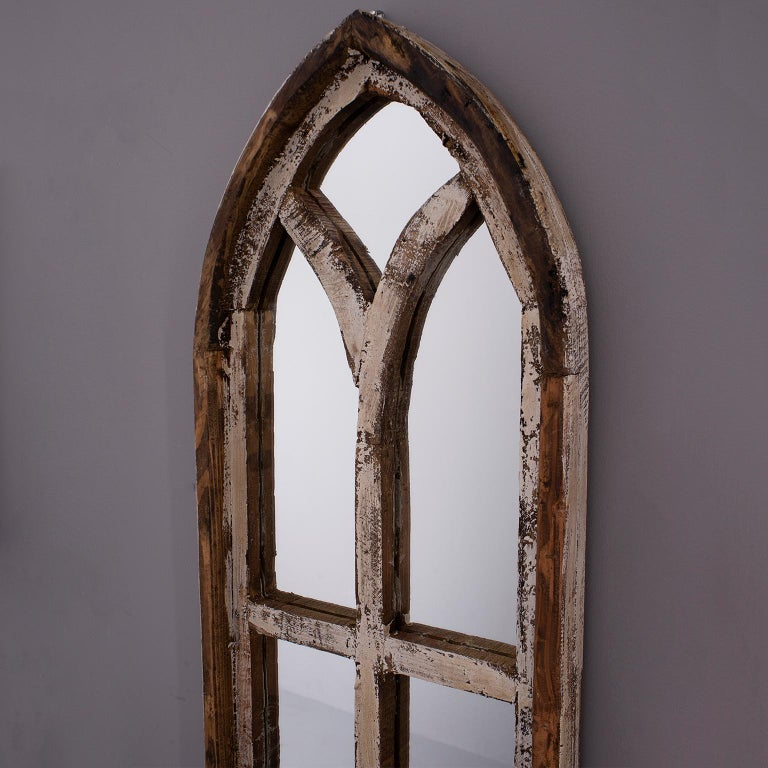 Pair Small Arched Wood Window Frames With Mirrors At 1stdibs