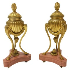 Pair Small French 19th Century Gilt Bronze Cassolettes