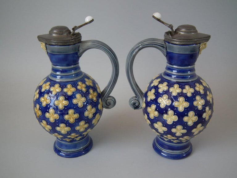 Late 19th Century Pair Small Minton Majolica Pitchers With Mask Spouts For Sale