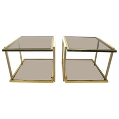 Pair Smoked Glass and Brass Tables by Tommaso Barbi