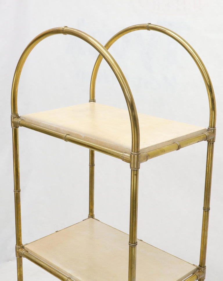 Pair Solid Brass Faux Bamboo Arch Shape Top Goat Skin Parchment Shelves Etageres For Sale 6